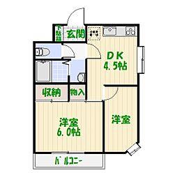 ムーンハイツマリコ1[1階]の間取り