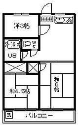 柚の木田ハイツ[203号室]の間取り