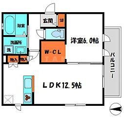 クレシア 3階1LDKの間取り