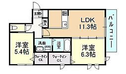 G Court Hirano(ジー コート ヒラノ) 2階2LDKの間取り