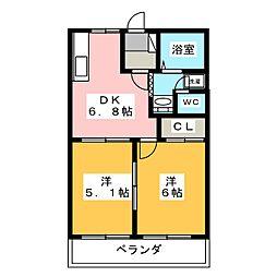 コーポ村田II[2階]の間取り