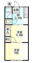 中島荘[B号室]の間取り