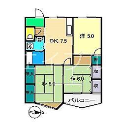 インペリアル西本1[3階]の間取り