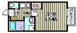 セジュール加守田SE[206号室]の間取り
