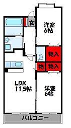 福岡県古賀市中央6丁目の賃貸マンションの間取り