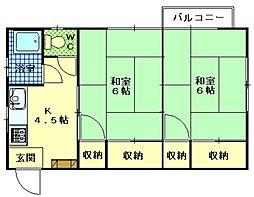 広島県広島市西区楠木町の賃貸マンションの間取り