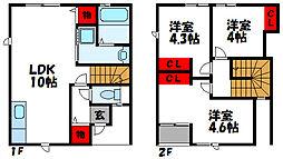 JR鹿児島本線 新宮中央駅 徒歩8分の賃貸タウンハウス 3LDKの間取り