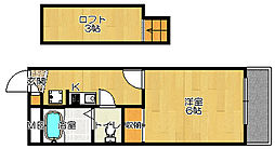 JR片町線(学研都市線) 忍ヶ丘駅 徒歩7分の賃貸アパート 3階1Kの間取り