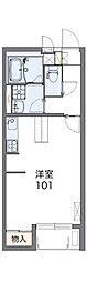 東武日光線 新栃木駅 徒歩17分の賃貸アパート 1階1Kの間取り