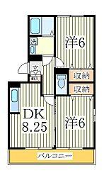 ラフォーレ上ノ台B[2階]の間取り