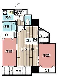 LE GRAND BLEU HAKATA 9階2LDKの間取り