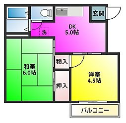 千葉県松戸市新作の賃貸アパートの間取り
