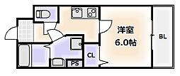 大阪府大阪市西成区天下茶屋3丁目の賃貸マンションの間取り