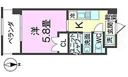 バス 真玉橋入口下車 徒歩4分の賃貸アパート 4階1Kの間取り