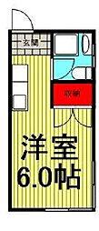 東京都北区西ケ原4丁目の賃貸アパートの間取り