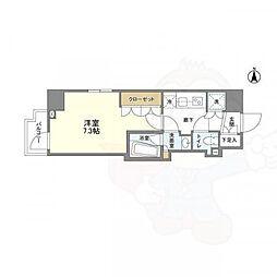京王線 上北沢駅 徒歩8分の賃貸マンション 2階1Kの間取り