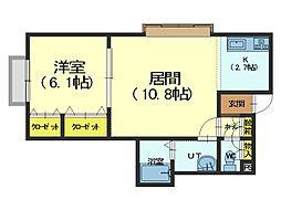 北海道札幌市手稲区富丘二条4丁目の賃貸アパートの間取り
