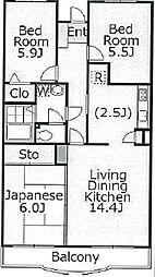 神奈川県川崎市宮前区平1丁目の賃貸マンションの間取り