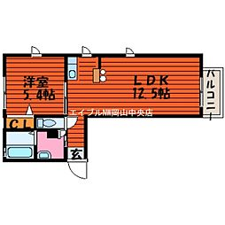 岡山県岡山市北区東古松4丁目の賃貸アパートの間取り