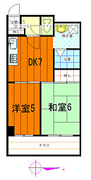 第十山崎マンション[407号室]の間取り