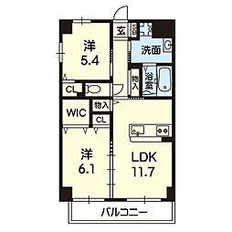 Viento島崎台II 1階2LDKの間取り