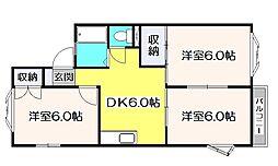 グローリィAOKI A棟[2階]の間取り