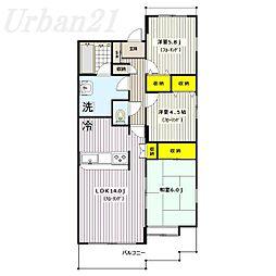 ガーデンハウス綱島B棟[1階]の間取り