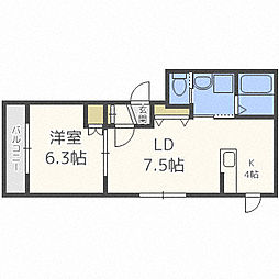 札幌市営南北線 幌平橋駅 徒歩10分の賃貸マンション 2階1LDKの間取り