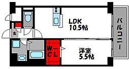 プレミアムワン 6階1LDKの間取り