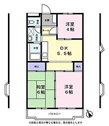 ボヌール西ヶ岡[2階]の間取り