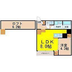 愛知県名古屋市熱田区明野町の賃貸アパートの間取り