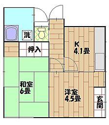 根倉アパート[1F右号室]の間取り