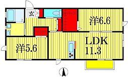 千葉県船橋市東船橋2丁目の賃貸アパートの間取り