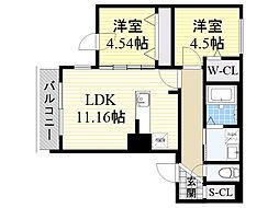 北海道札幌市中央区南14条西8丁目の賃貸マンションの間取り