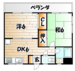 福岡県北九州市戸畑区一枝3丁目の賃貸マンションの間取り