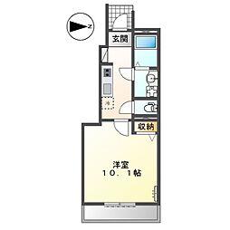 (仮称)前貝塚町新築アパートB棟 1階1Kの間取り