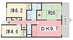 兵庫県姫路市吉田町の賃貸マンションの間取り