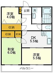 JR中央線 国立駅 徒歩19分の賃貸マンション 1階3DKの間取り