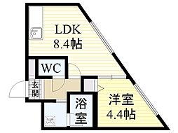 北海道札幌市北区北34条西2丁目の賃貸マンションの間取り