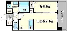 プレサンス難波インフィニティ 11階1LDKの間取り