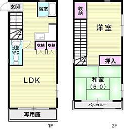 阪急神戸本線 六甲駅 徒歩6分の賃貸一戸建て 1階2LDKの間取り