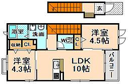 兵庫県伊丹市東野4丁目の賃貸アパートの間取り