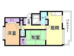 ドミ中ノ沢中央 2階2LDKの間取り
