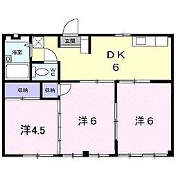 広島県福山市南蔵王町4丁目の賃貸アパートの間取り