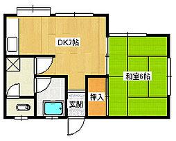 リビオン熊西[4階]の間取り