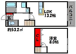 JR香椎線 舞松原駅 徒歩13分の賃貸アパート 3階1LDKの間取り