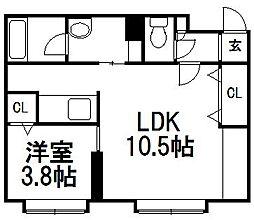 北海道札幌市中央区南八条西11丁目の賃貸マンションの間取り