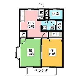 プチロジュ野沢A[2階]の間取り