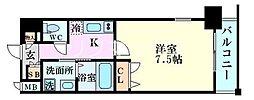 Osaka Metro堺筋線 南森町駅 徒歩7分の賃貸マンション 3階1Kの間取り