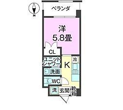 沖縄都市モノレール 壺川駅 徒歩29分の賃貸アパート 5階1Kの間取り